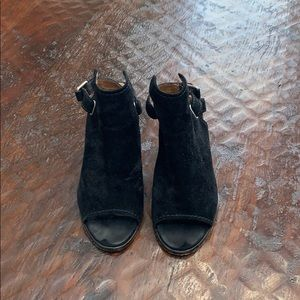 Frye black suede ankle bootie with back strap